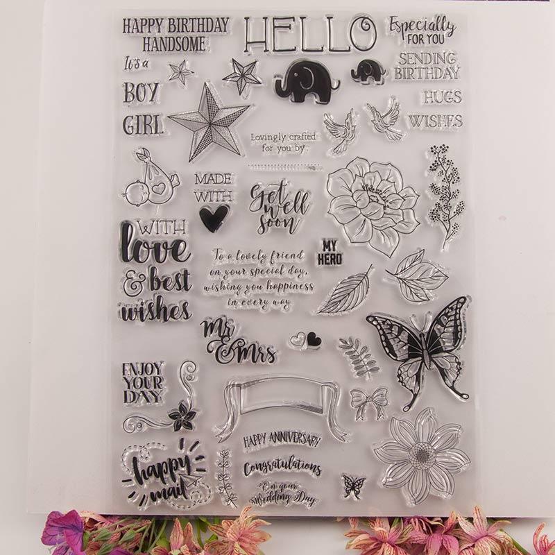 Sello de silicona transparente mariposa elefante estrella palabras sello transparente álbum para recortes de fotos hojas de sellos transparentes decorativas