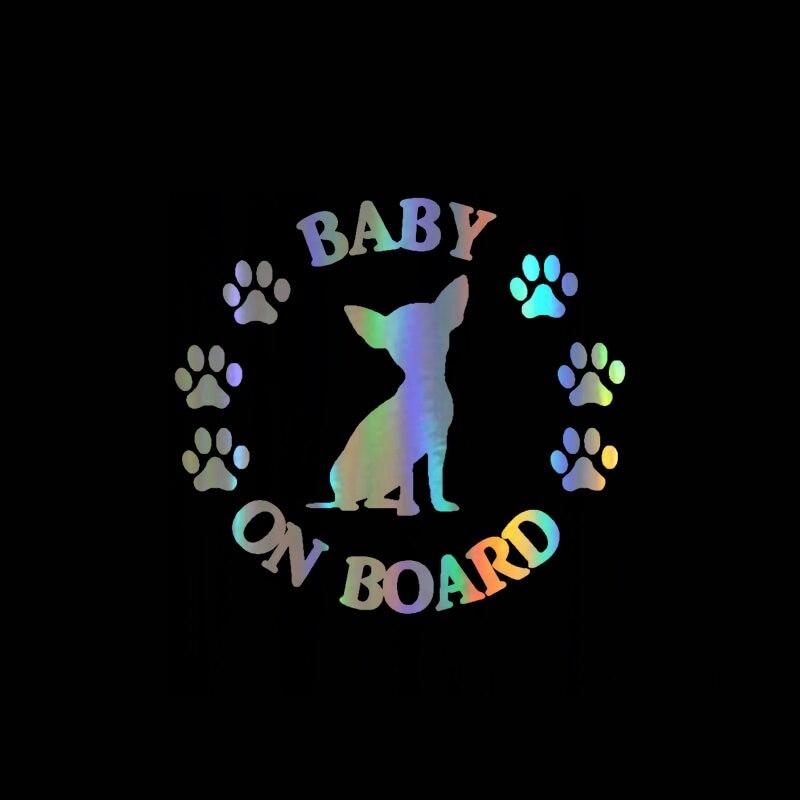 Pegatina para ventana de perro Chihuahua de 14CM * 12,8 CM, pegatina reflectante a láser para motocicleta, pegatina de vinilo para ventana, estilo