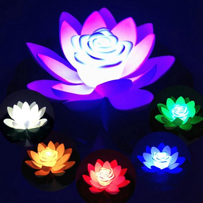 Luz LED de noche loto Artificial flotante lámpara de loto falso lirio de agua flor de loto jardín piscina estanque fuente Jardin decoración 18-28cm