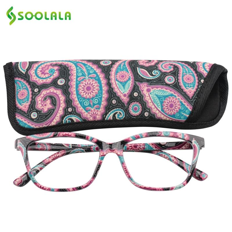 Карманные очки для чтения SOOLALA с сумкой в комплекте, недорогие весенние очки для дальнозоркости с петлей + 1,0-4,0