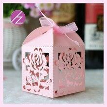 100 unids/lote envío gratis caja de recuerdos de boda de corte láser fácil de abrir flores caja de dulces para regalar caja decoración de favores de boda 21 colores