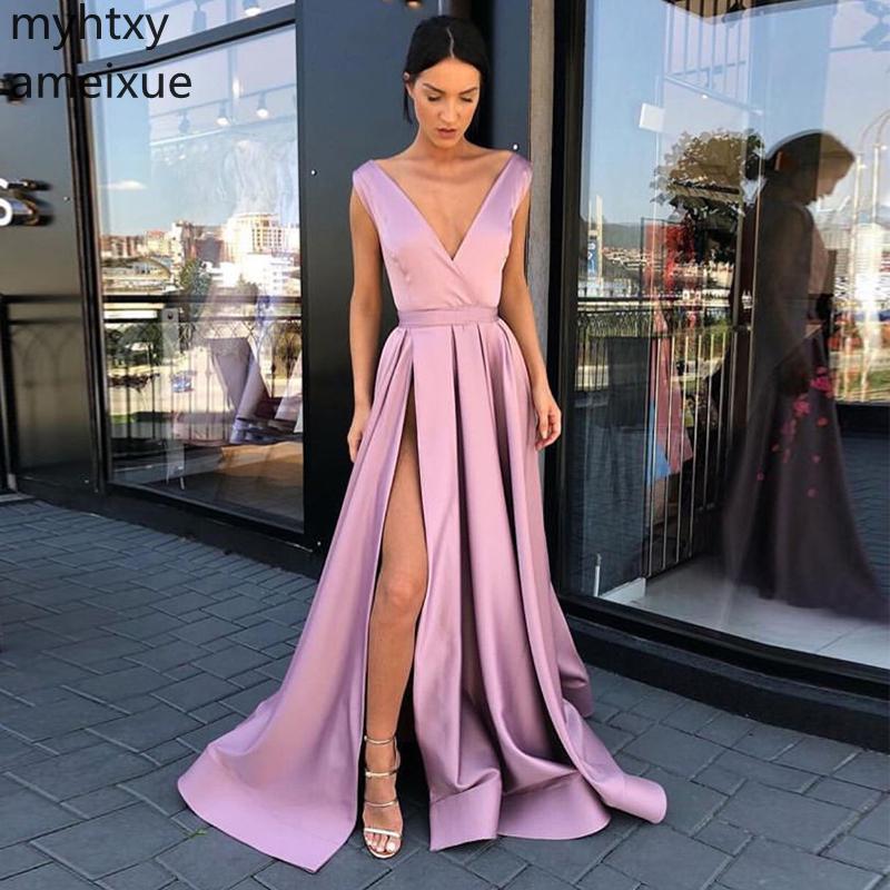 Nuevos vestidos De noche sencillos De talla grande 2020 con cuello en V, Vestidos De Noche De color rosa De satén, largo hasta el suelo, sin espalda, vestido De noche con división frontal especial