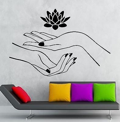 Настенные наклейки в виде лотоса Hands Spa Релаксация Йога Zen виниловая наклейка наклейки на стену домашний Декор Гостиная Vinilos Paredes A420