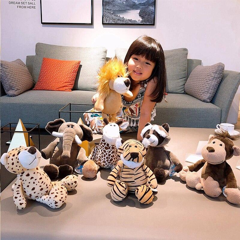 Juguetes de animales de bosque de peluche de dibujos animados elefante mapache zorro León Giraff guepardo muñecos de peluche mono muñecas niños regalo de cumpleaños