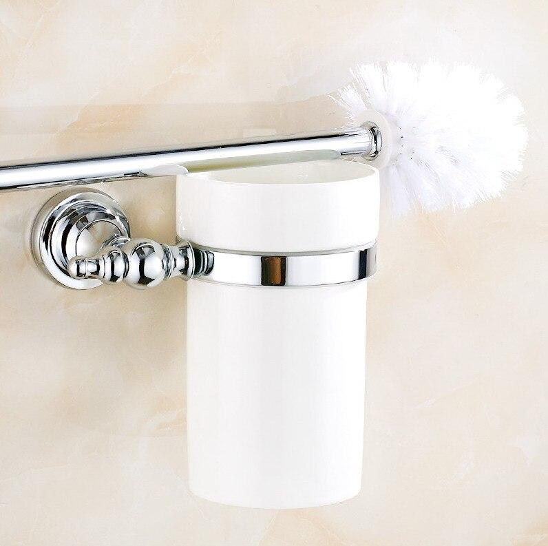مجموعة حامل فرشاة المرحاض ، كوب سيراميك مفرد ، كروم مصقول ، للحمام ، ملحق الحمام ، mba906