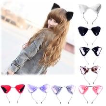 Bandeaux et oreilles de chat pour filles   Accessoires pour cheveux de fête avec lunette en peluche en forme de renard doux en peluche, tendance