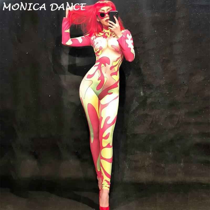 Mulheres Multicoloridas Macacão Sexy Partido Boate Roupas Desgaste Estágio Cantor Dancer