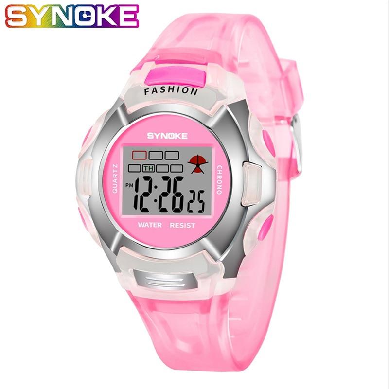 SYNOKE estudiante niños relojes niña deporte lindo rosa azul alarma silicona niños Digital electrónica 3 Bar niños reloj de pulsera