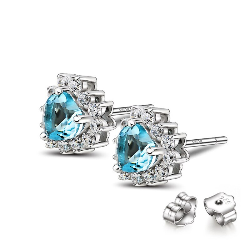 925 Sterling Silver Classic Love Titanic Heart Of The Ocean Blue Crystal Women Stud Earrings Fashion Wedding Jewelry Wholesale