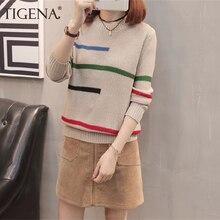 TIGENA 2020 automne hiver pull pull femmes pull coréen belle couleur rayé à manches longues tricot pull femme tricots