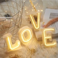 diy led neon night light 26 letters warm white led string light birthday holiday wedding party indoor wall hanging decor lamp