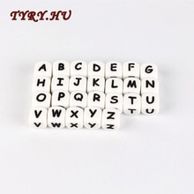 10pc 편지 실리콘 구슬 아기 teether 구슬 맞춤 된 이름에 대 한 씹는 알파벳 구슬 diy 젖니가 남 목걸이 12mm
