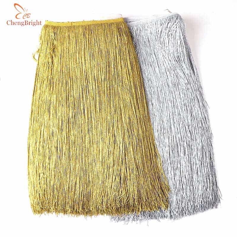 Beatiful 50CM/Pack Gold Fringe Trim Tassel Fringe Trimming Latin Dress Stage Clothes Accessories 50cm Wide Lace Ribbon Tassel