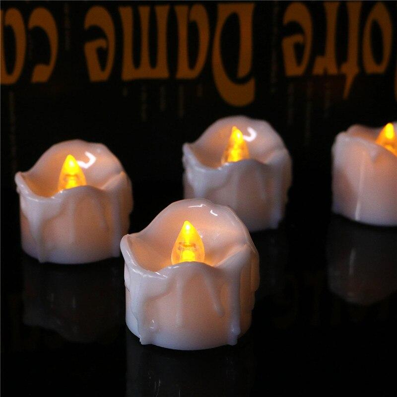 4 piezas de velas de luz amarilla parpadeante decorativas, sin llama blanco...