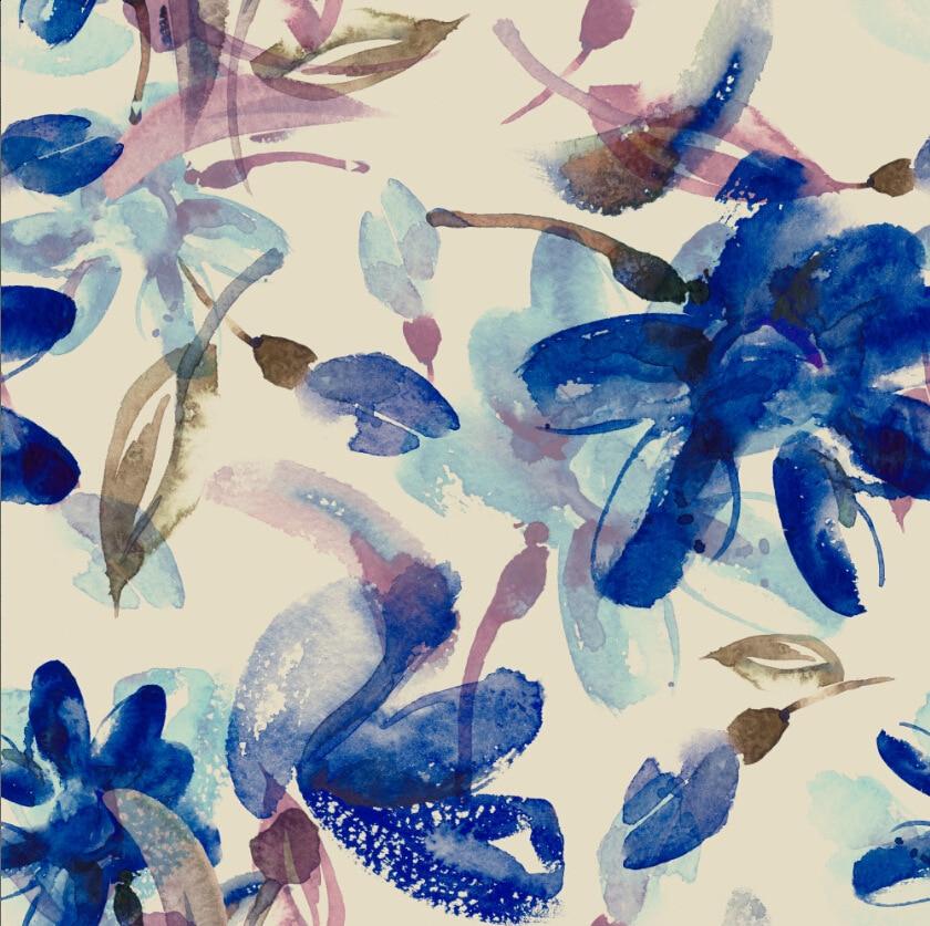 LEO & LIN Nähen Blumen Blau Chiffon Europäischen Wurzel Garn Air Schicht Stoff Digitaldruck Stoffe 50cm