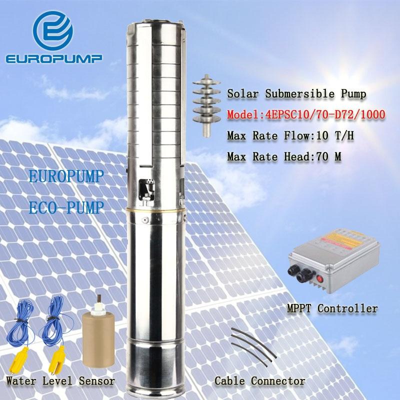 EUROPUMP نموذج (4EPSC10/70-D72/1000) أفضل سعر كفاءة عالية المحمولة 10m 3/h تدفق معدل 70m رئيس الشمسية مضخة مياه