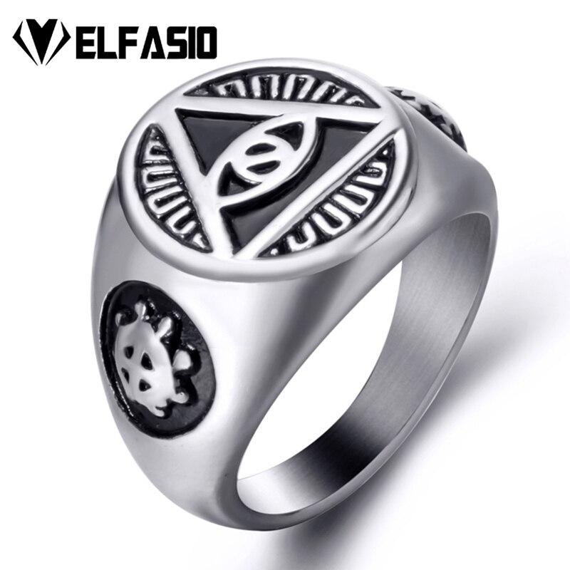 Mens Stainless Steel Ring Illuminati The All-seeing-eye illunati pyramid/eye symbol Biker Jewelry Size 7-15