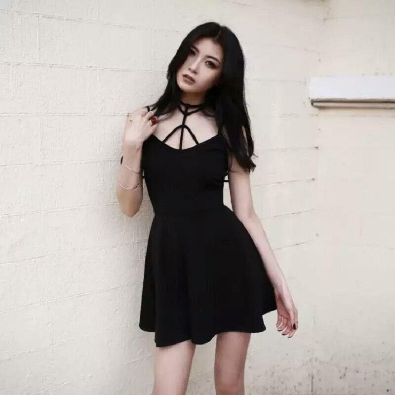 Women Sexy Dress Harajuku Gothic Cross Strap Design Halter Black V Collar Dress Female