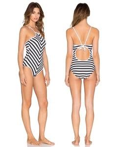 White Black Navy Striped Padded Strap Monokini bikini Bandeau Backless Swimwear One Piece Swimsuit Biquini water sport surfing
