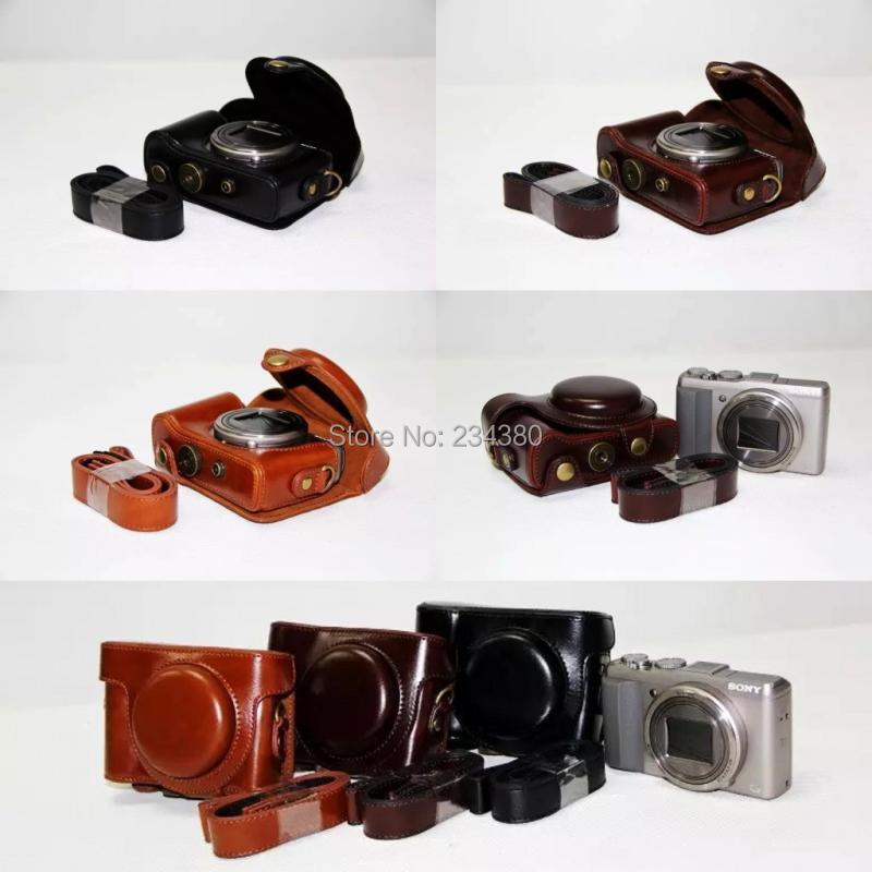 Cuero Cámara caso bolsa cubierta de la correa de la cámara para Sony Cyber-shot DSC-HX60 DSC-HX50V DSC HX60 HX50V HX30 No Logo negro café marrón