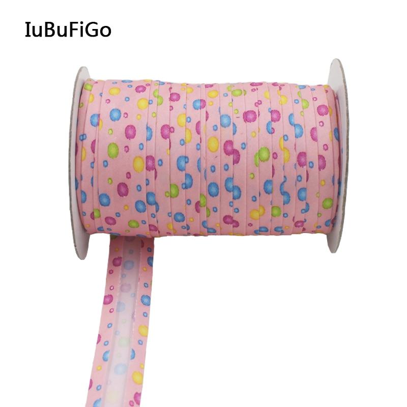 """Polyester 3/4 """"(20mm) Satin Bias Lila Farbe Dot Druckband Schrägband Für DIY Kleidungsstück Nähen und Trimmen 25 yard/rolle"""