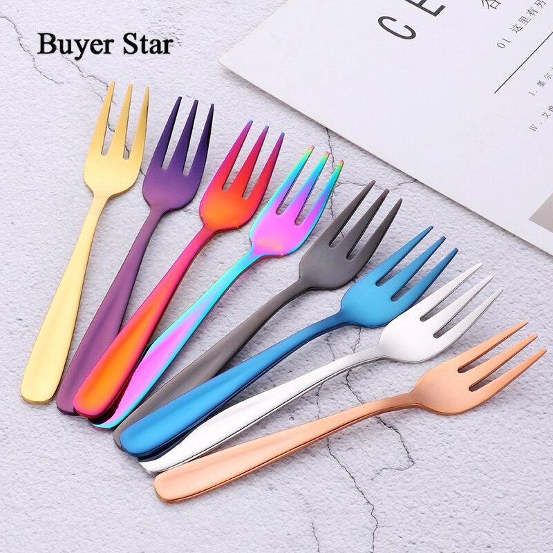Buyer Star HOT 5.39'' Stainless Steel Tea Fork Set Metal Three Prongs Food Cake Cutlery Fork Dinnerware Set for Party Restaurant