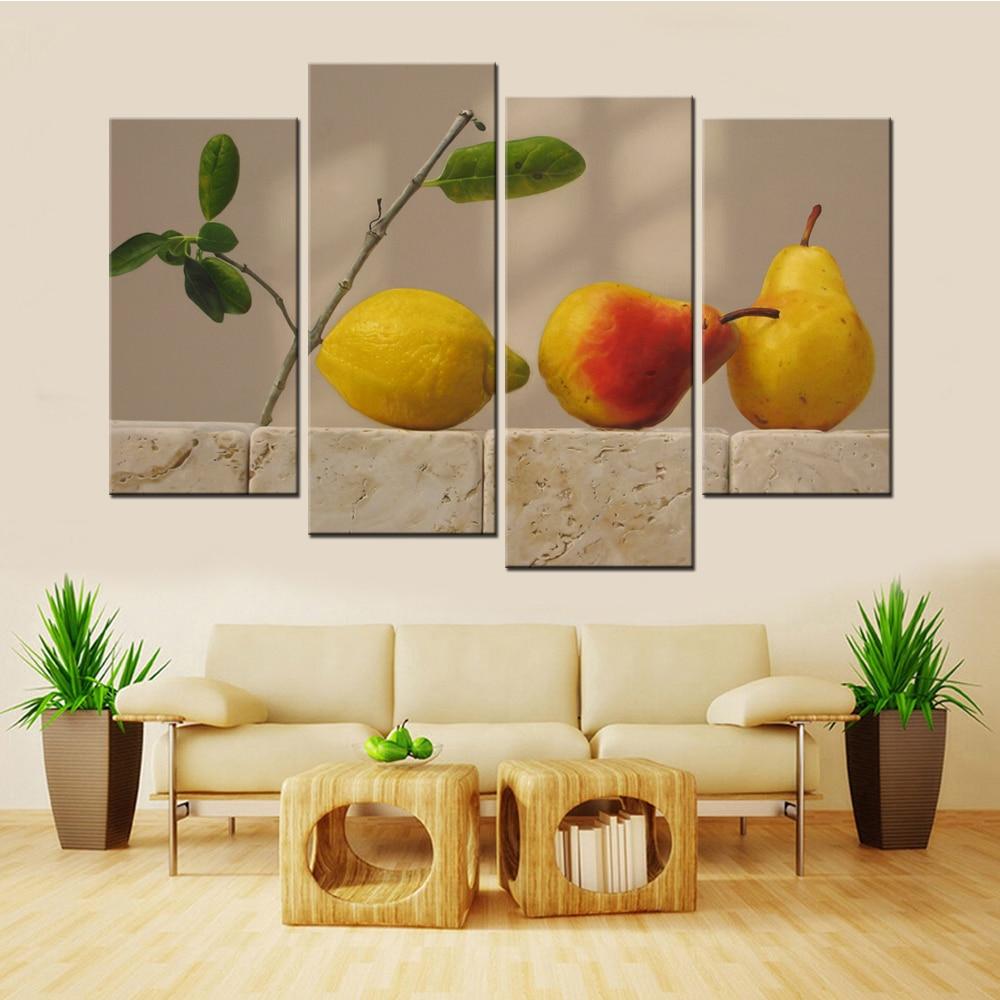 Transporte da gota 4 painéis sem moldura frutas peras e um limão moderna pintura da arte da lona para sala de estar cuadros modernos decoração casa