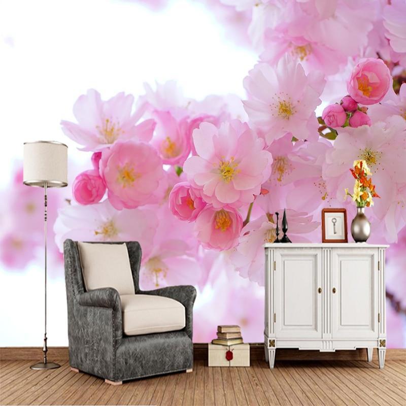 Papel de pared personalizado 3d, mural de flor de cerezo japonés utilizado para sala de estar, dormitorio, sofá, papel tapiz decorativo de fondo