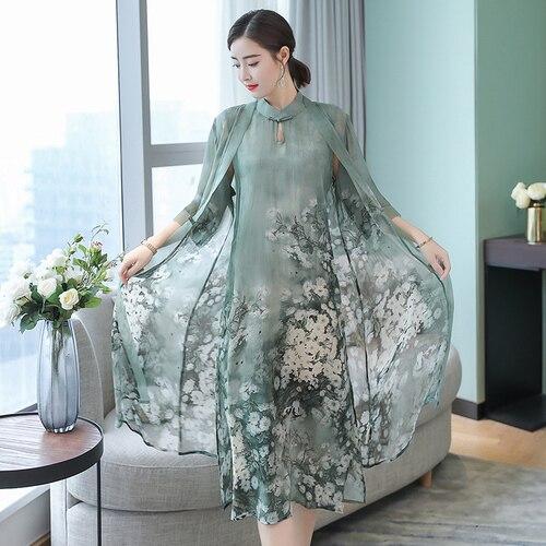 Seda verde conjunto de 2 piezas una línea de vestido trajes de talla grande para mujer novedad de verano Vintage vestido de fiesta Midi con ropa Caridgan RE2182