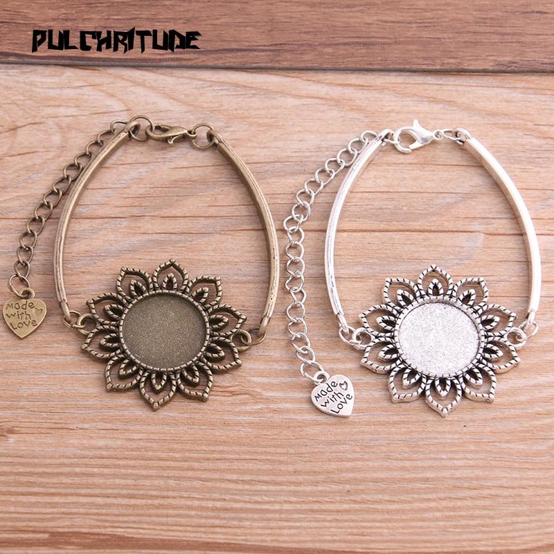 1pcs Two Color Zinc Alloy Blank Bracelet Settings 18mm Round Flower Cabochon Bangle Bezel Trays Diy Jewelry Base