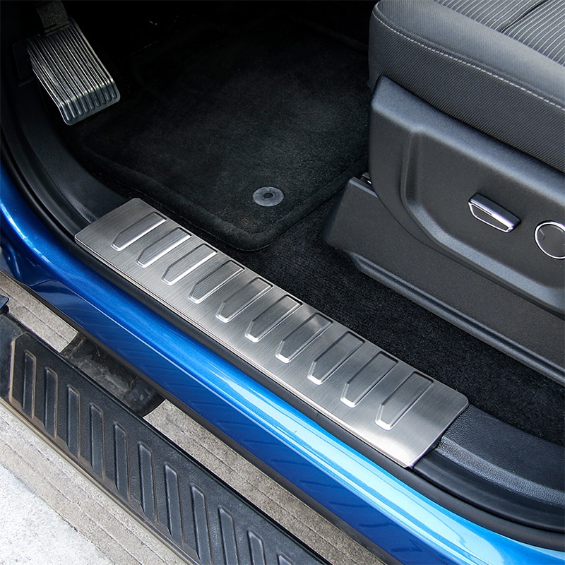 SHINEKA Car Interior Scuff Plate Door Sill Protector Entry Guard Pedals For Ford F150 2015+ enlarge