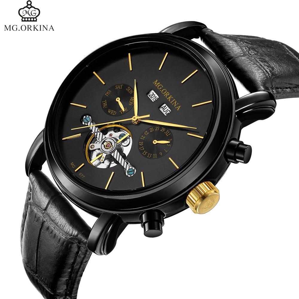 Relojes de diseño clásico Tourbillon para hombre, relojes de marca de lujo, reloj automático, reloj mecánico para hombre, calendario completo