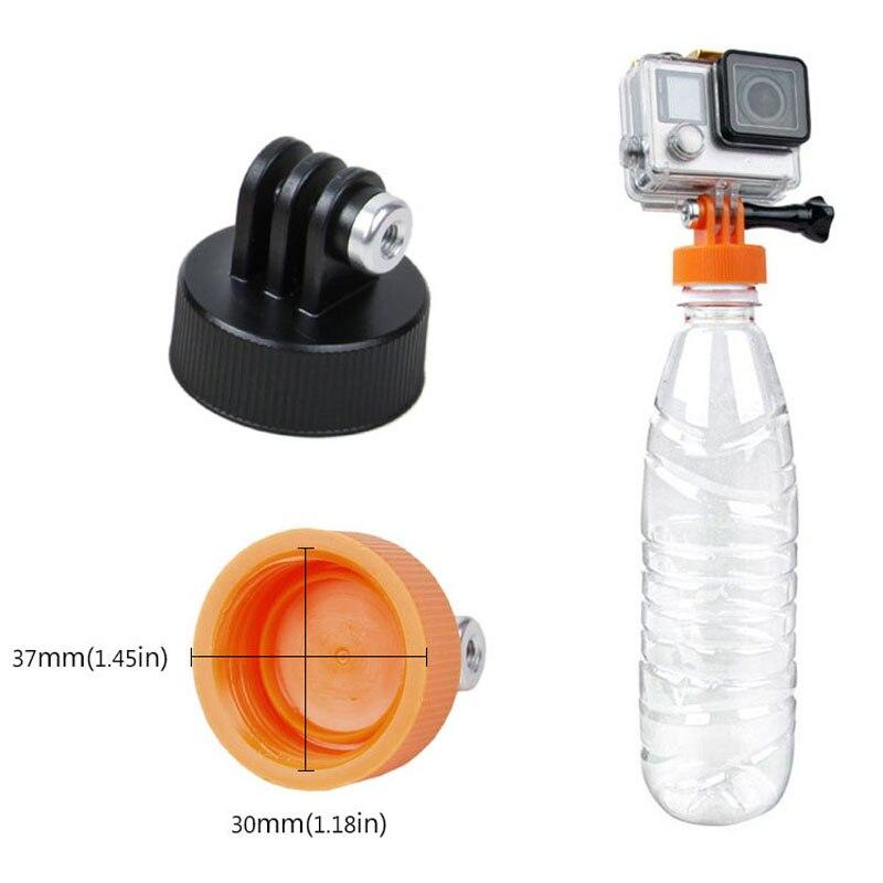Go pro 37mm botella de agua tapa monopié trípode para GoPro Hero Sjcam Yi 4K conector Surfing plástico soporte para botellas adaptador