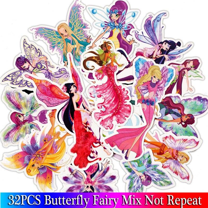 32 pçs borboleta fada princesa adesivos para scrapbooking diy portátil bagagem skate quarto adesivo