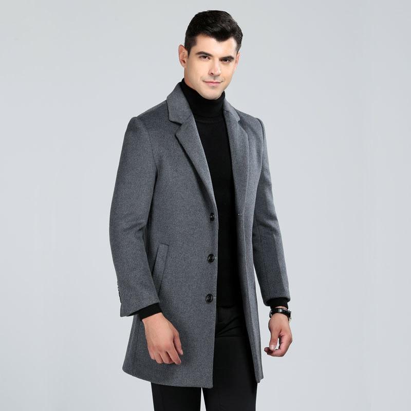 2018 M-3XL tamanho grande negócio dos homens estilo longo trench coats de lã casaco de lã masculina gola virada para baixo único breasted fino sobretudo