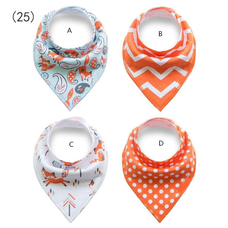 Orange e branco tema/impertinente fox + polka dot + Bibs Bandana chevron princesa menina/4 pçs/set