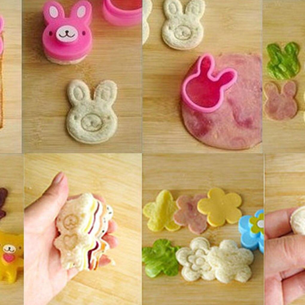 3 unids/set de dibujos animados cortador de moldes de sándwiches molde para relieves de pan y galletas tarta herramientas de molde para el almuerzo para bolas de arroz