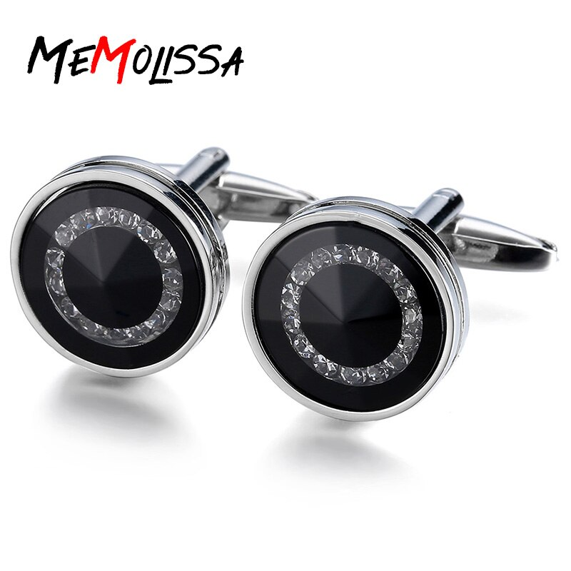 Memolissa Men's Luxury Crystal Cufflinks Sea Black Rhinestone Top Quality Wedding Round Cufflinks Free Shipping