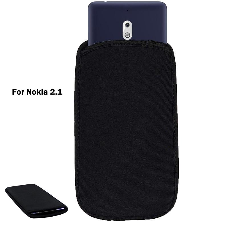 Para Nokia 2,1 suave Flexible de neopreno protectora negra para Nokia 2,1 elástico mangas universal bolsa caso