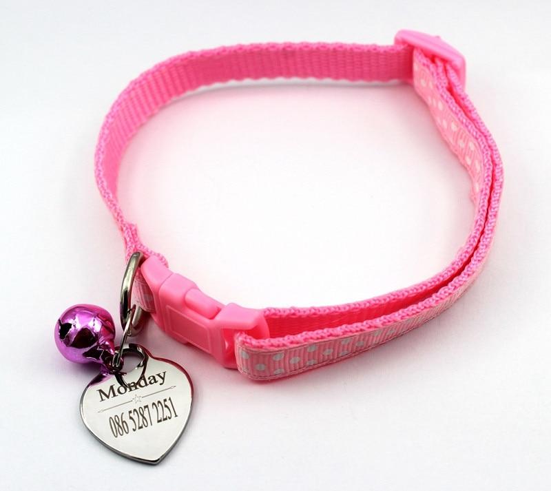 Personalizado perro Collar para cachorros y gatos con etiqueta de identificación ajustable de Nylon grabado ID collares de perro para pequeño Mini mascota perro gato