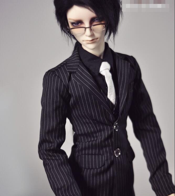 NEW Handsome Fashion Black-white Stripes Suit Coat+Pants Uncle 1/3 1/4 Boy SD17 BJD Doll SD MSD Clothes