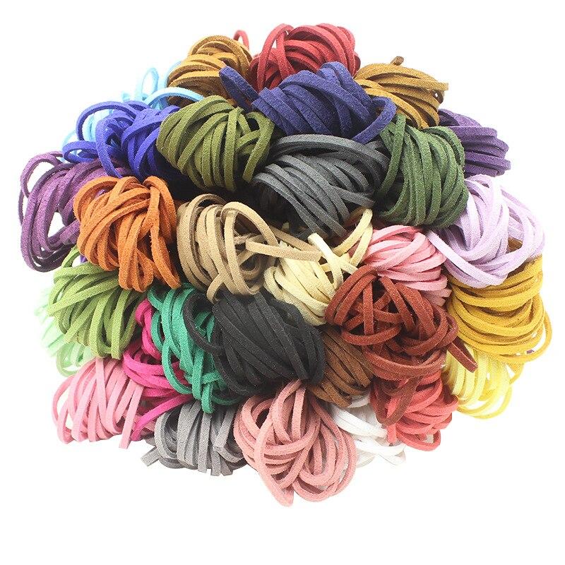 1 pièce Faux cuir corde 34 couleurs 2.8x1.5mm plat coréen daim fil corde pour bricolage à la main en cuir fabrication de bijoux résultats