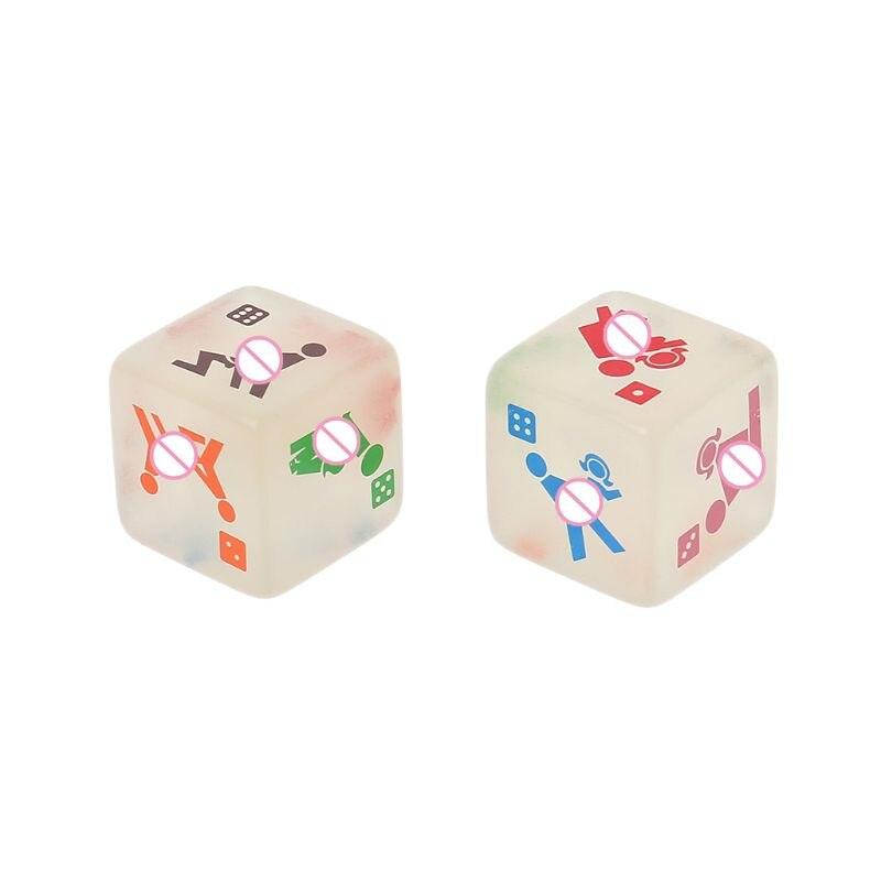 2 piezas 25mm noctilucentes Cubo de dados juego de adultos sexo dados noche Bar KTV divertido juego de acrílico de alta calidad noEnName_Null