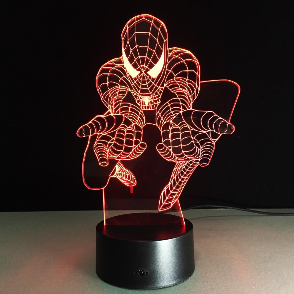 Best Kids Gift 3D Luminaria Spiderman Night Light Marvel Movie Fans Superhero Lamps USB Color Changing Desk Decor Drop Shipping