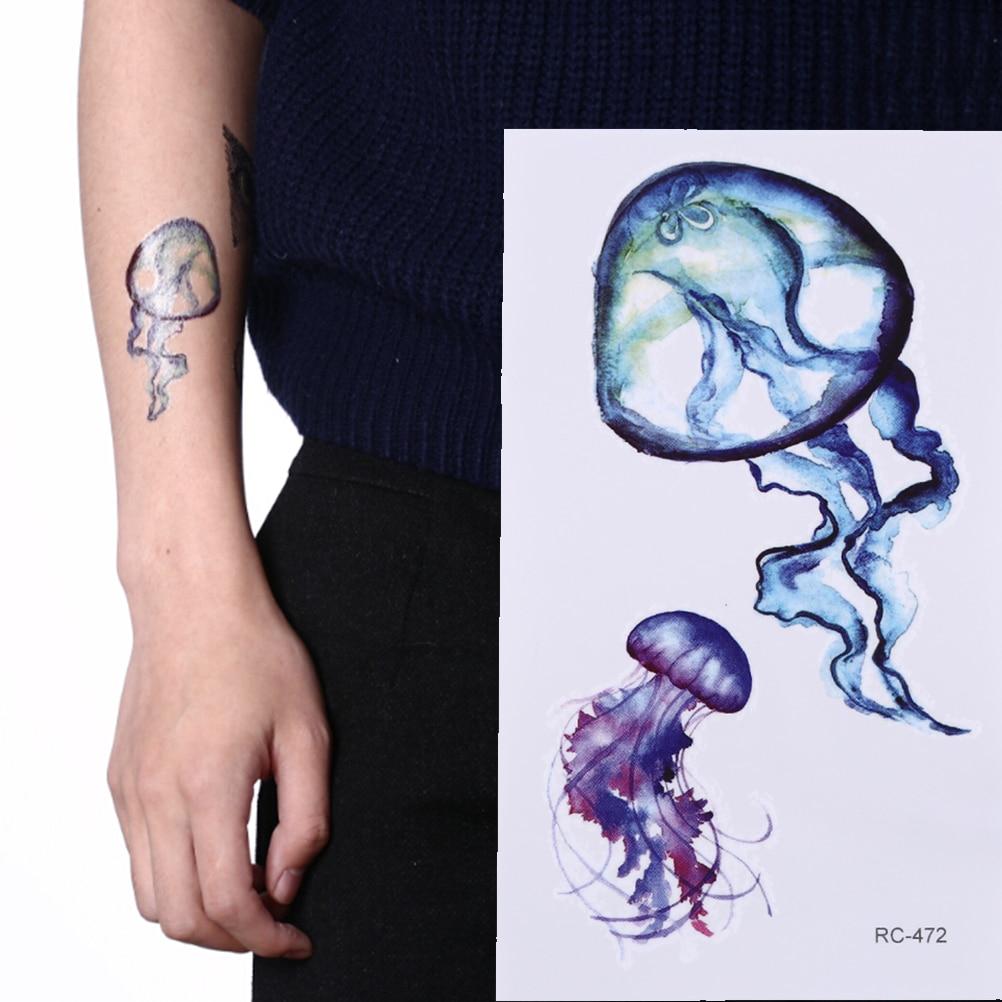 Starfish Whale Shark Sea Animals Temporary Tattoos Waterproof Women Fake Body Art Arm Tattoo Sticker 6x10.5cm Kids Hand Tatoo