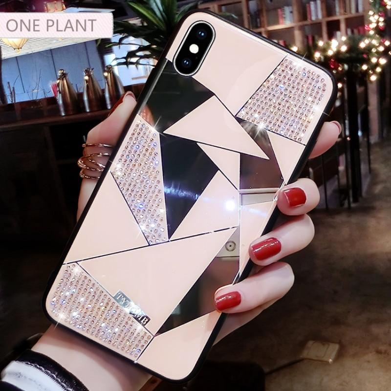 Funda de teléfono oneplanta de lujo creativa espejo rombo para iPhone X XR XS MAX 6 S para iPhone 7 8 funda de taladro de agua de moda Plus