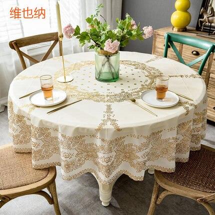 مفرش طاولة دائري PVC على الطراز الأوروبي ، مفرش طاولة مطفأ ، مقاوم للماء والزيت ، كبير ومستدير للمنزل
