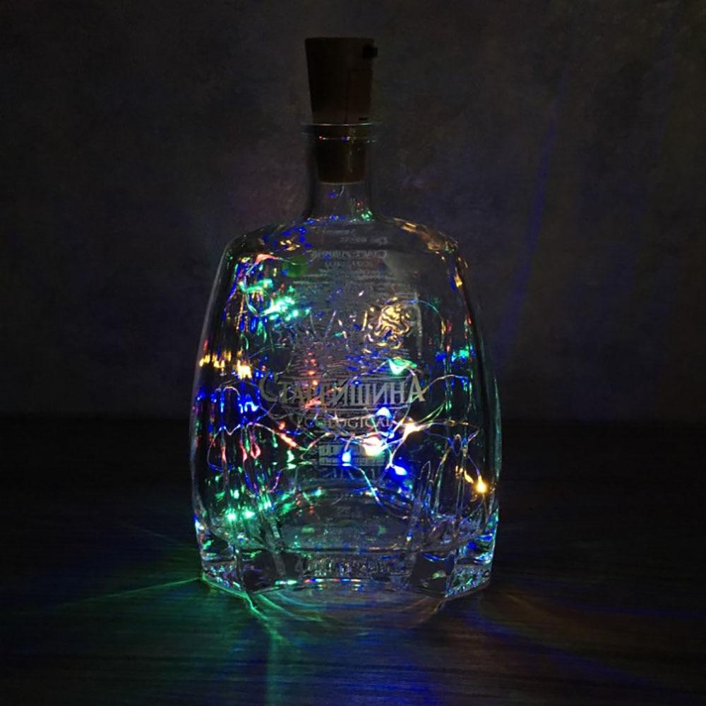 2 м светодиодная гирлянда из медной проволоки, гирлянда, сказочные огни для стеклянной бутылки, Новогоднее/рождественское/свадебное украшение на День святого Валентина