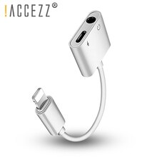 ¡! ACCEZZ 2 en 1 Adaptador de escucha de carga para iphone XS MAX XR 3,5mm Jack divisor auxiliar para IOS iphone X 8 7 Plus adaptador de carga