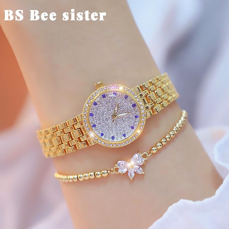 BS Women Watches Casual Band Rose Gold Zircon Top Brand Female Clock Ladies Quartz Bracelet Saat Reloj Mujer Relogio Gifts enlarge
